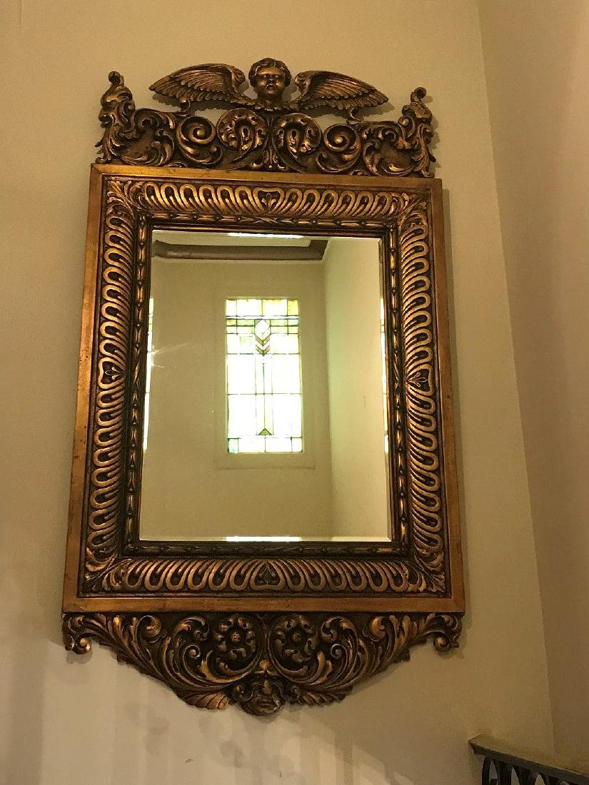 19TH CENTURY ITALIAN CARVED GILT WOOD MIRROR, with