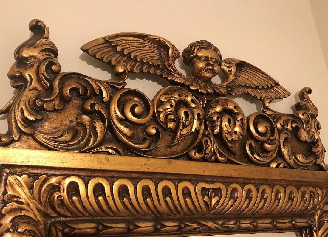 19TH CENTURY ITALIAN CARVED GILT WOOD MIRROR, with - 2