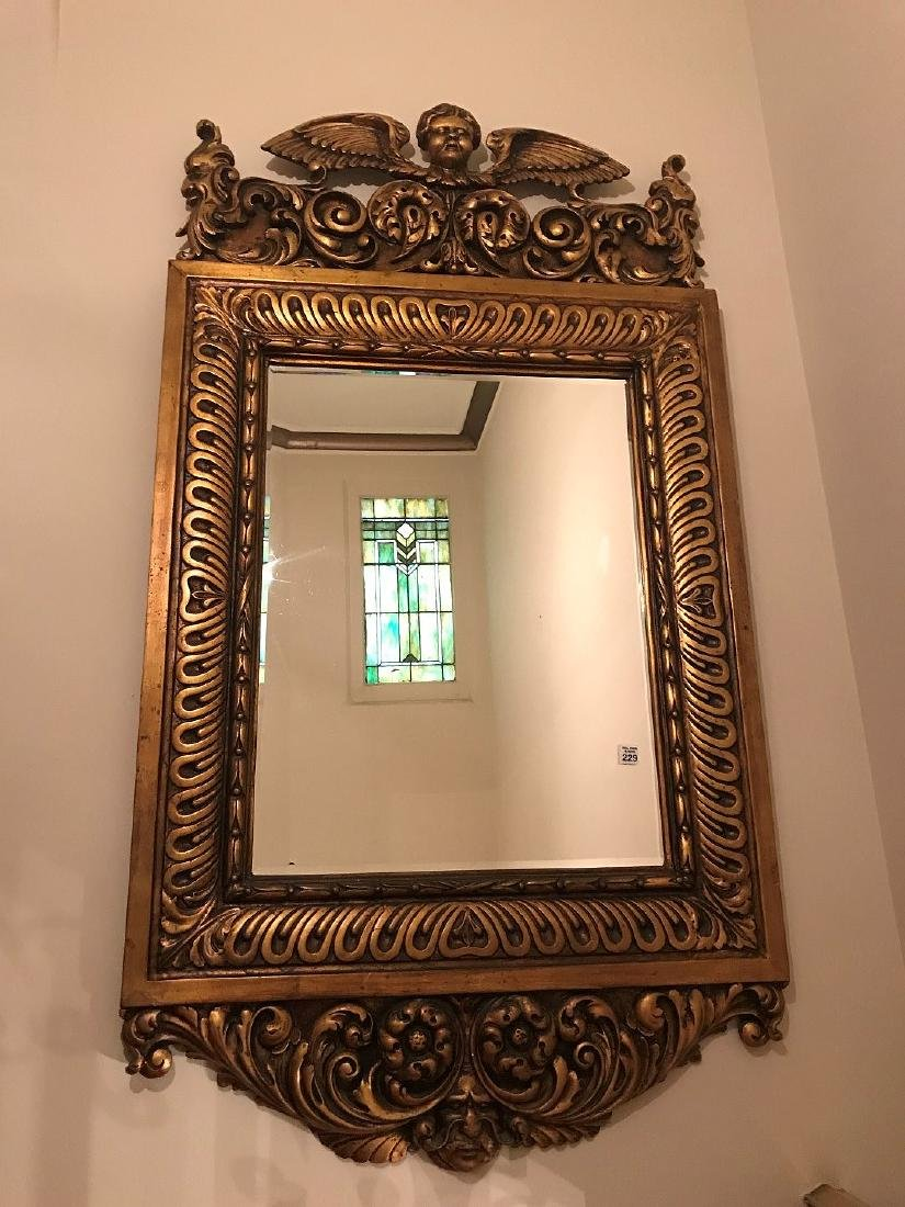 19TH CENTURY ITALIAN CARVED GILT WOOD MIRROR, with - 4