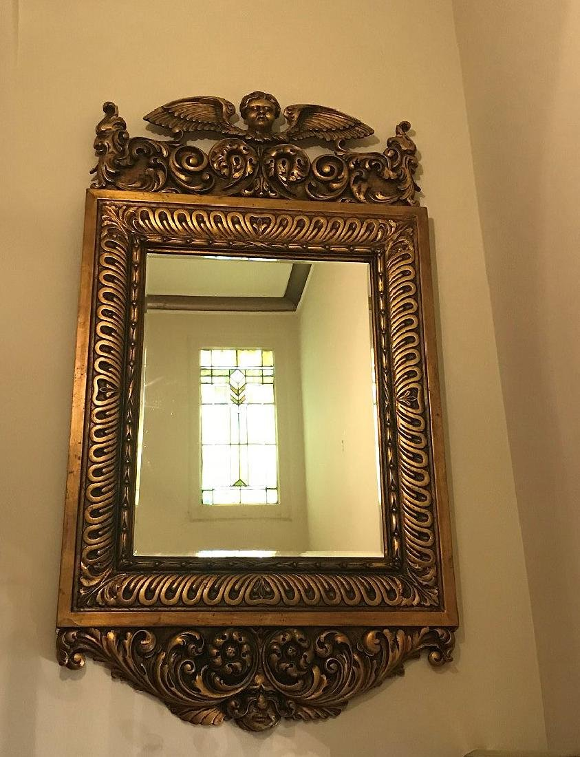 19TH CENTURY ITALIAN CARVED GILT WOOD MIRROR, with - 5