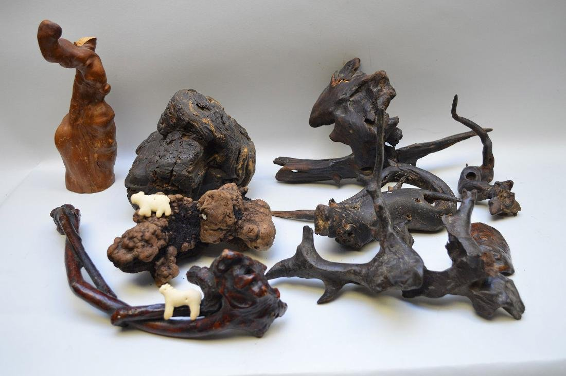 LOT OF 9 JAPANESE GNARLED ROOT WOOD SCULPTURES - Some