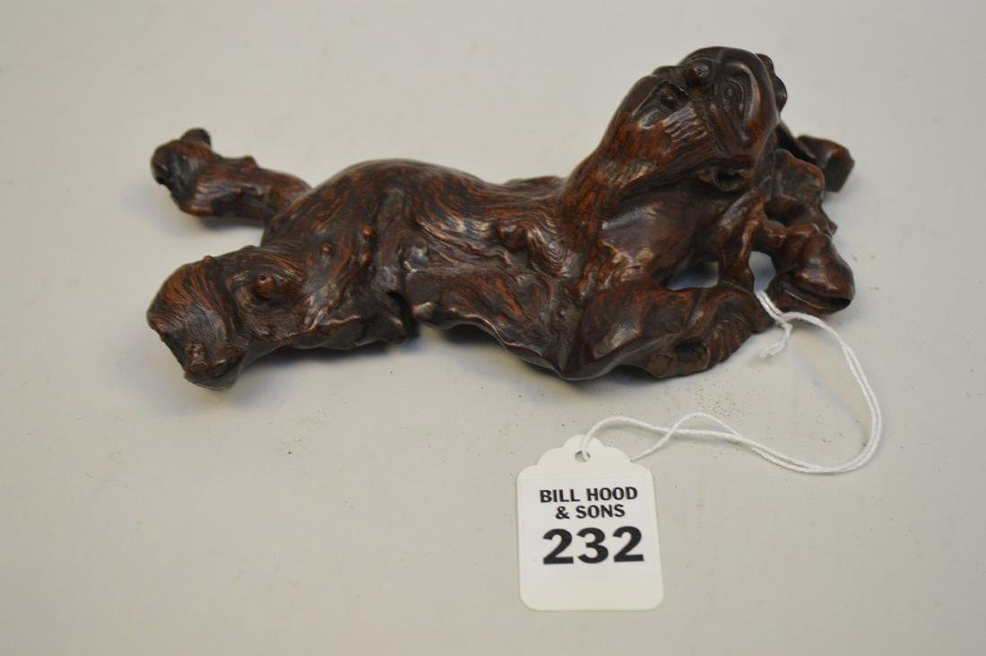 JAPANESE ROOT WOOD SCULPTURE OF A SCHOLAR - Condition: