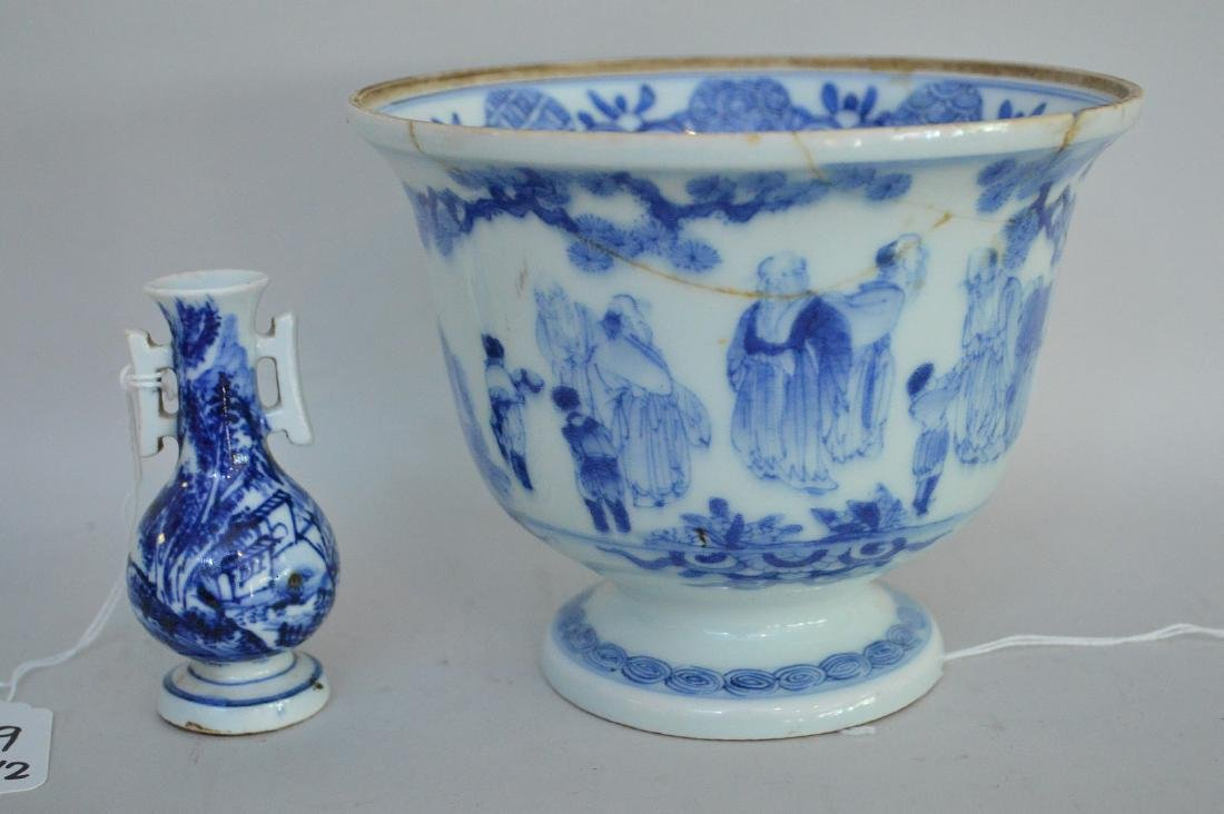 TWO EARLY JAPANESE BLUE & WHITE PORCELAIN VESSELS - A