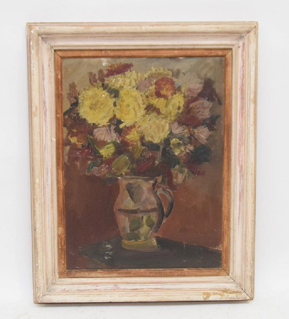 20th Century Oil on artists board, Depicts still life
