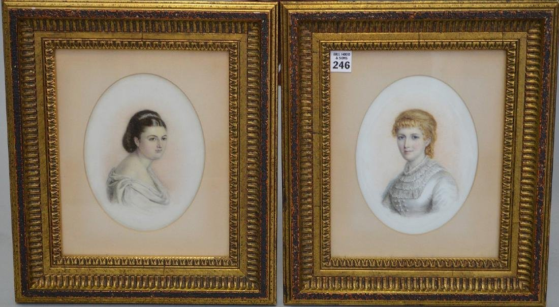 Pair of Portrait paintings on oval Porcelain Plaques,