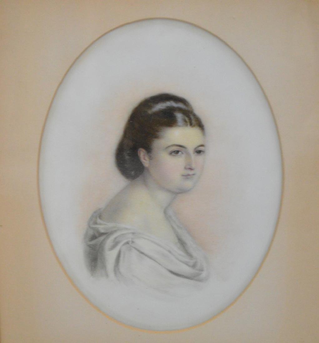 Pair of Portrait paintings on oval Porcelain Plaques, - 2