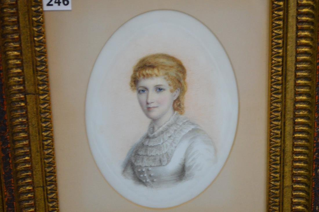 Pair of Portrait paintings on oval Porcelain Plaques, - 3