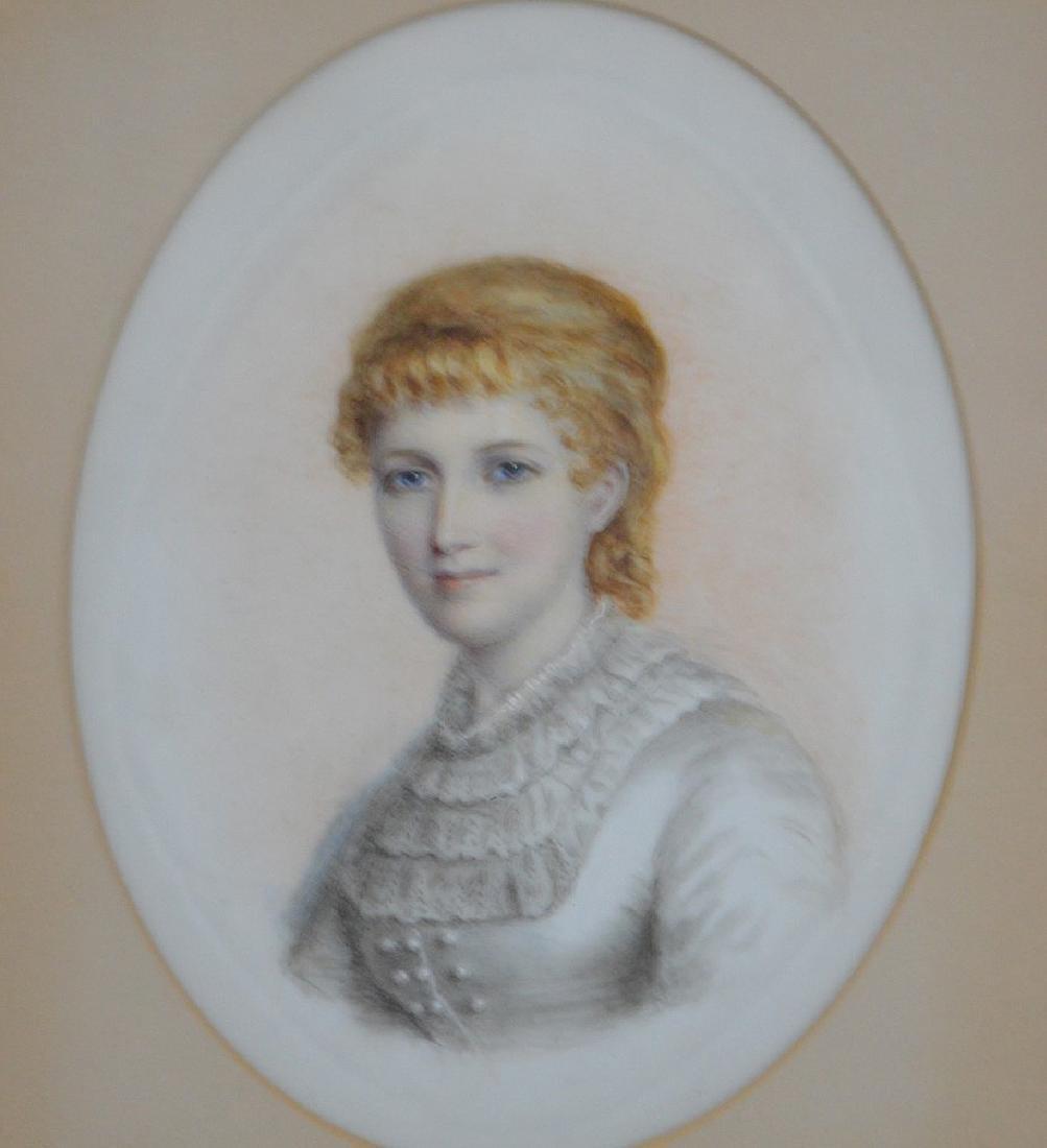 Pair of Portrait paintings on oval Porcelain Plaques, - 4