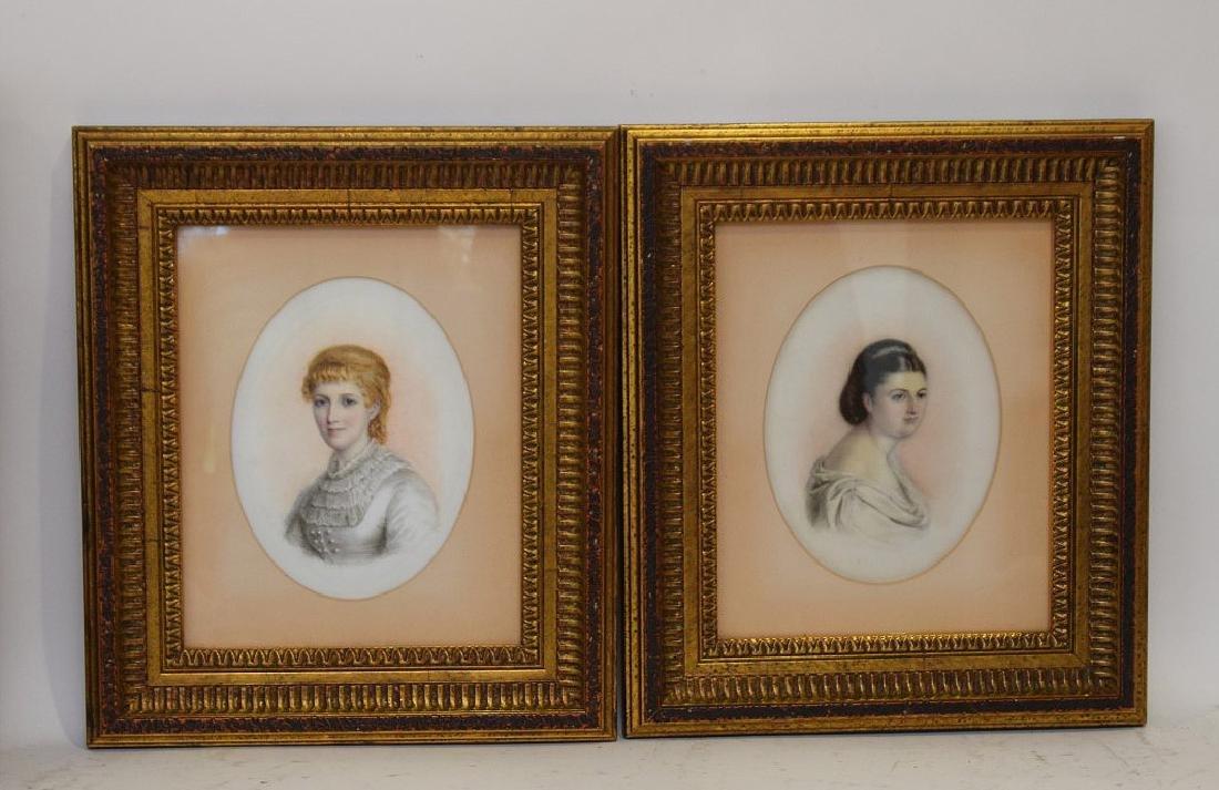 Pair of Portrait paintings on oval Porcelain Plaques, - 5