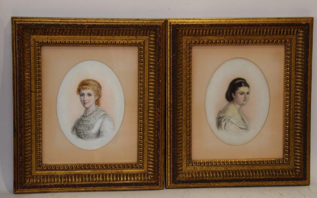Pair of Portrait paintings on oval Porcelain Plaques, - 6
