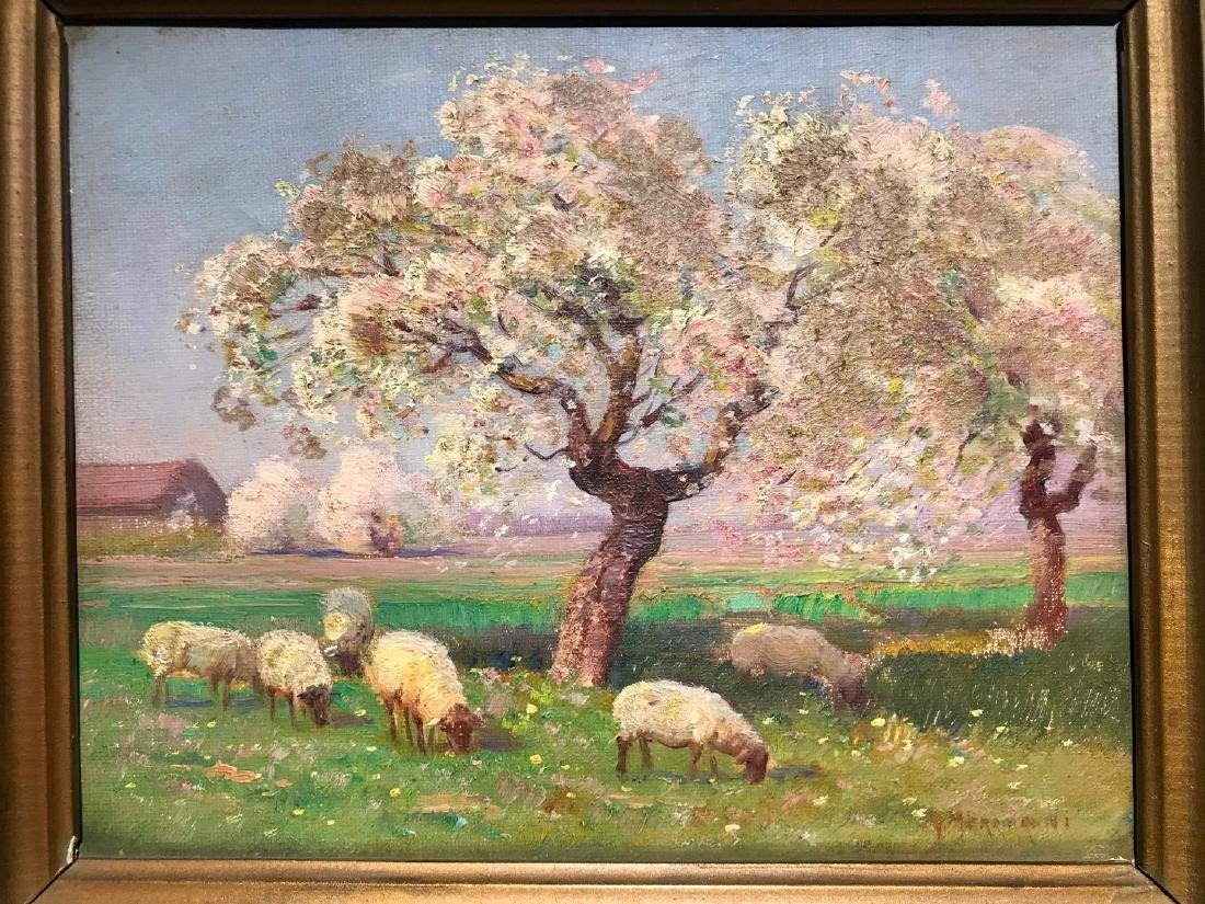Antique Sheep Painting signed illegibly, approx. 8 x 10 - 2