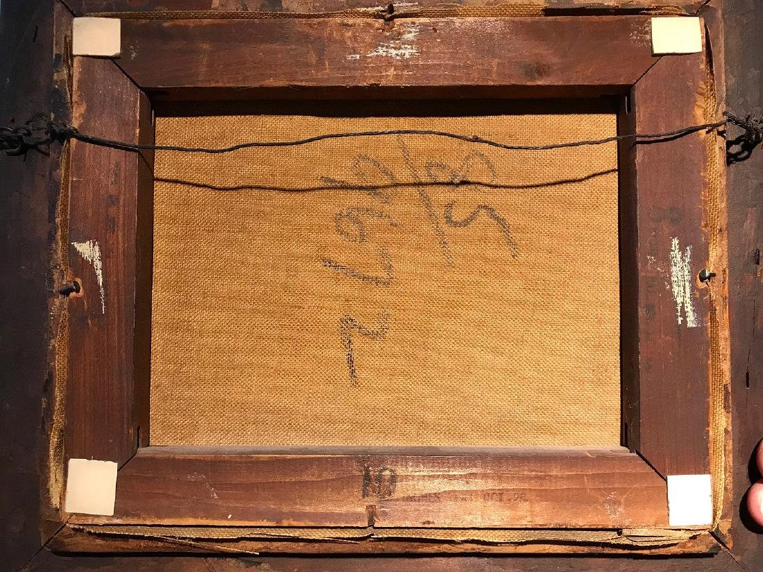 Antique Sheep Painting signed illegibly, approx. 8 x 10 - 3