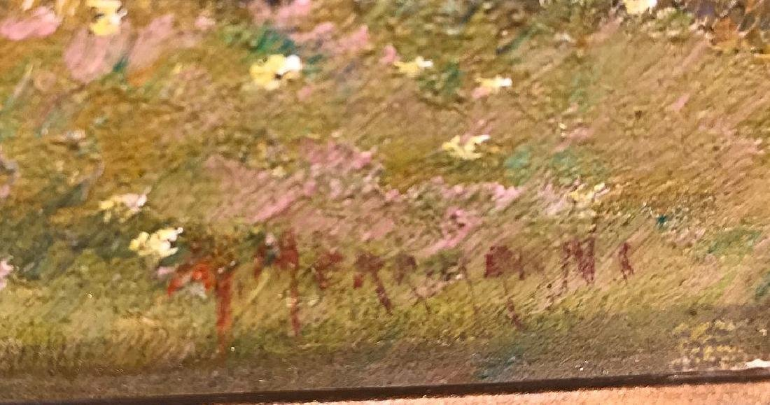 Antique Sheep Painting signed illegibly, approx. 8 x 10 - 4