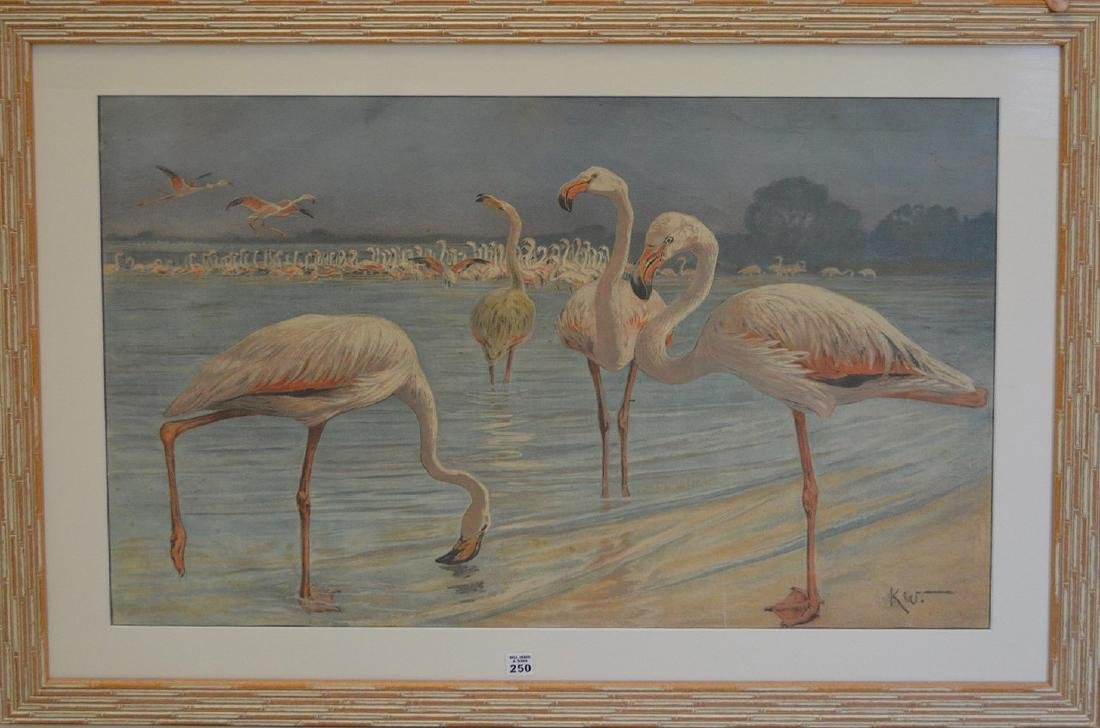 "Mid-Century hand colored lithograph, ""Flamingoes"","