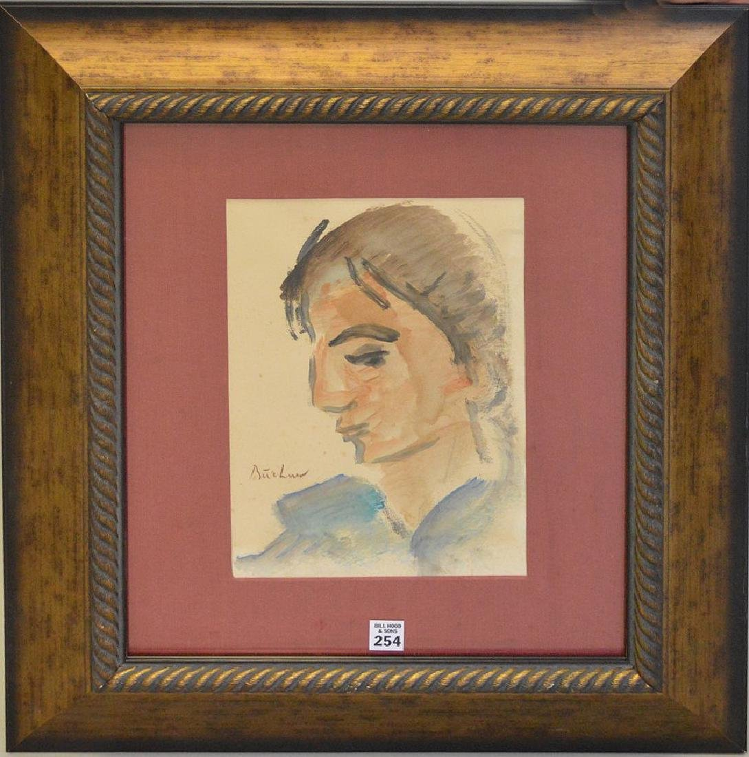 Carl Adolph Buchner (South Africa 1921) Watercolor face