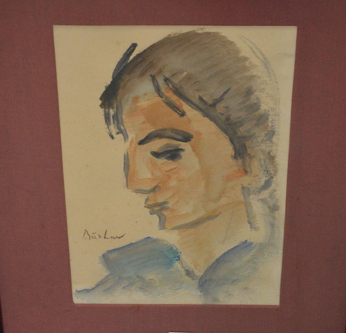 Carl Adolph Buchner (South Africa 1921) Watercolor face - 2
