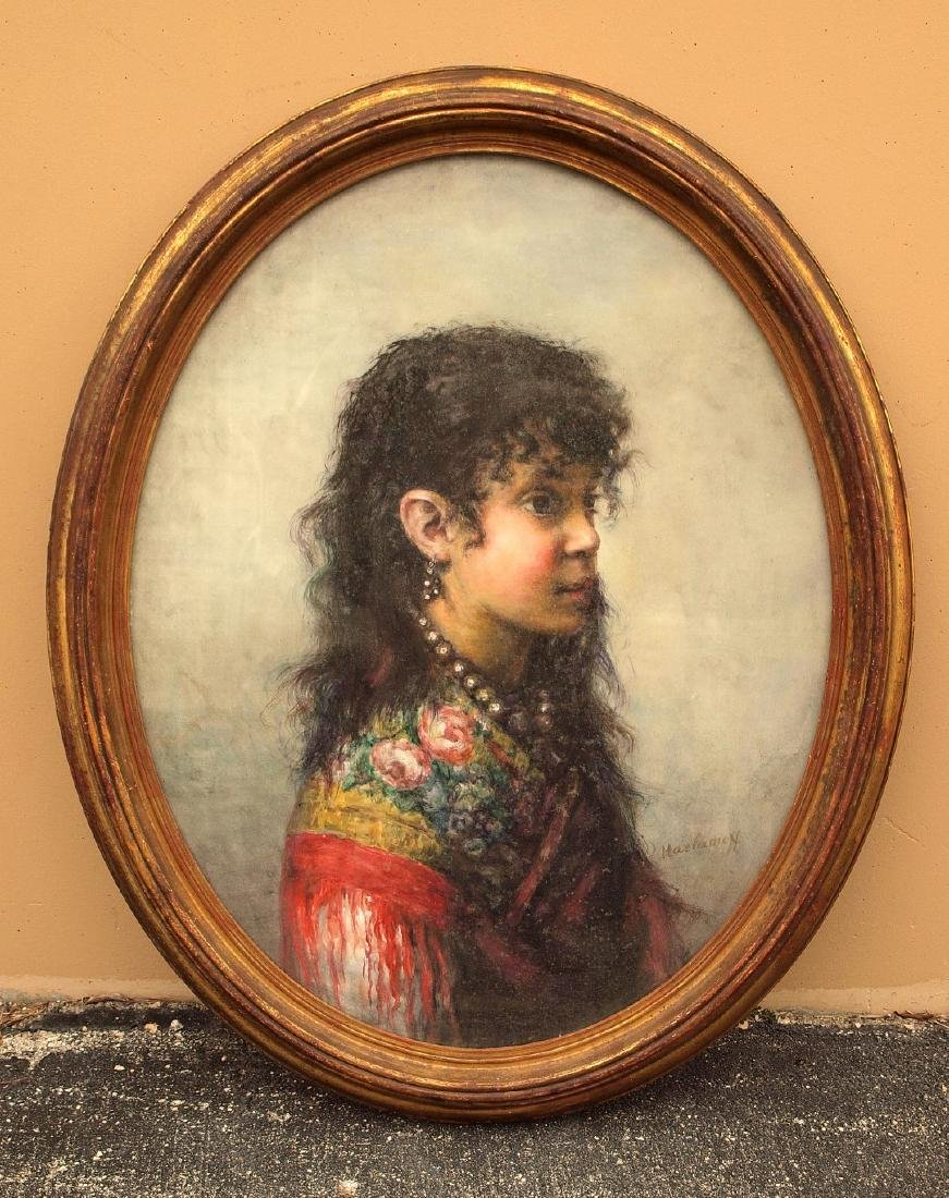 Russian painting attributed to: Alexej Harlamoff oval