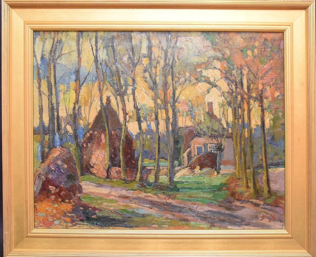 Russian Landscape cottages , oil on canvas, 20 x 26