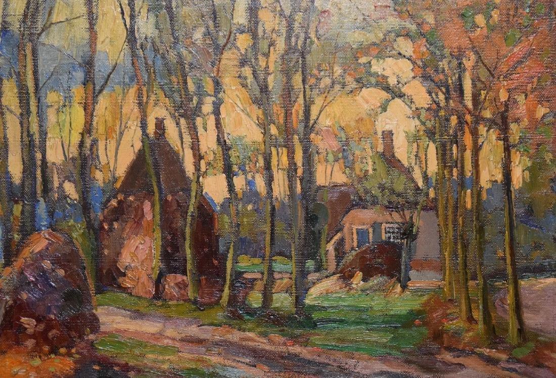 Russian Landscape cottages , oil on canvas, 20 x 26 - 2