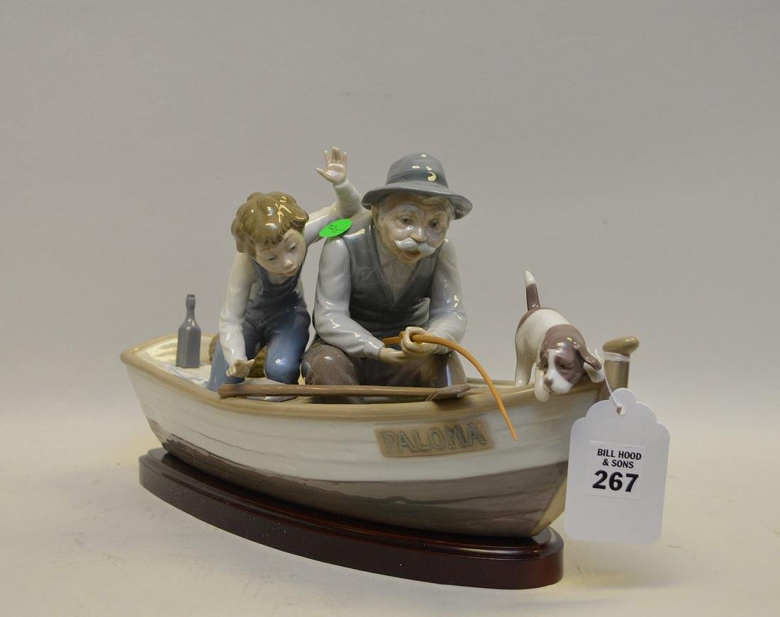Lladro Spain Porcelain Sculptures #5215, with wooden