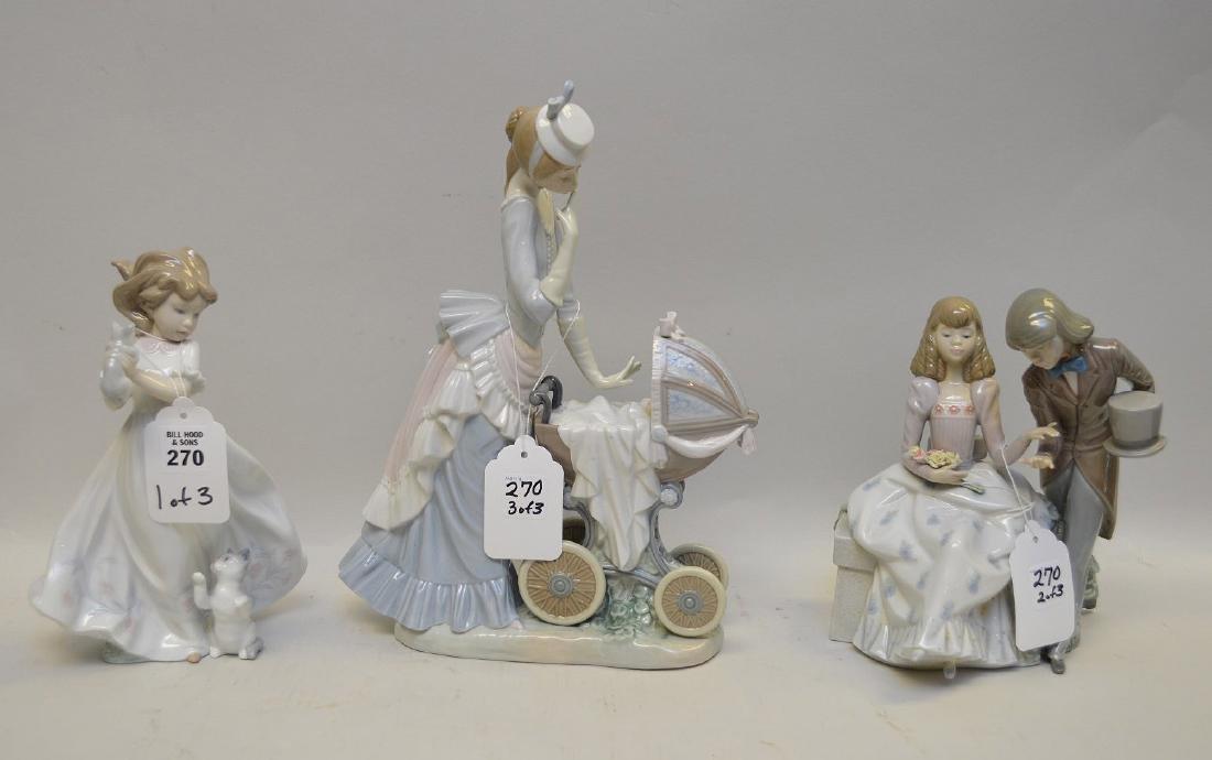 Lot of THREE Lladro Spain Porcelain Sculptures: (1)