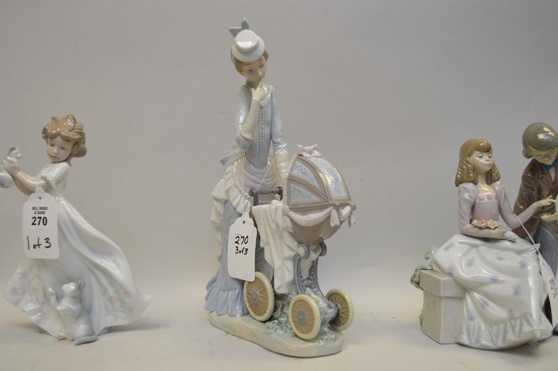 Lot of THREE Lladro Spain Porcelain Sculptures: (1) - 4