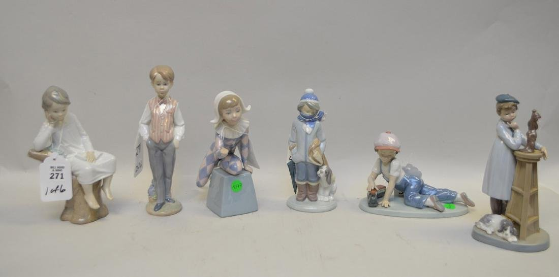 Lot of SIX Lladro Spain Porcelain Sculptures: (1) #4876;