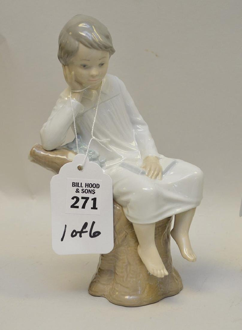 Lot of SIX Lladro Spain Porcelain Sculptures: (1) #4876; - 7