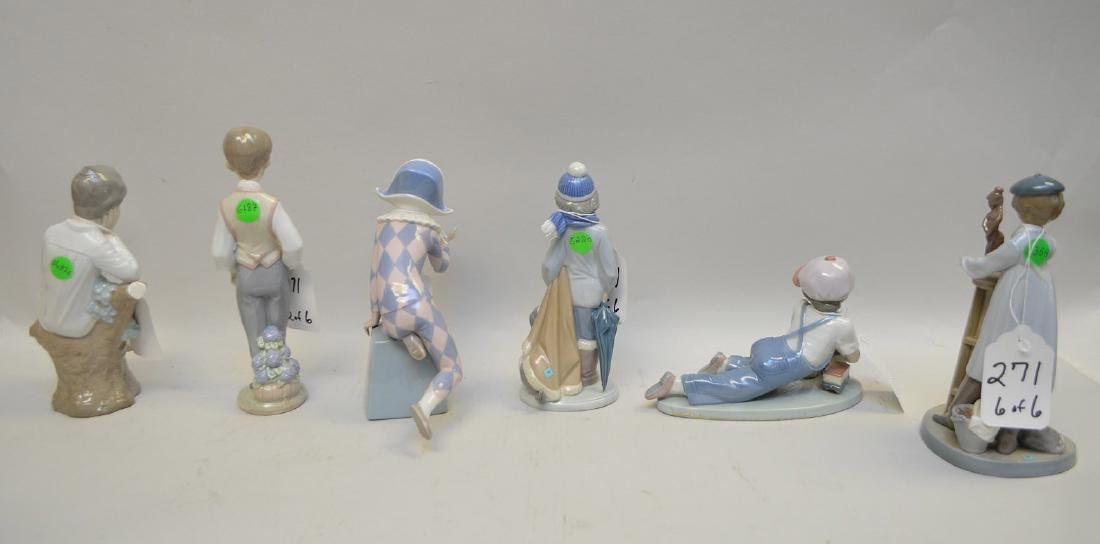 Lot of SIX Lladro Spain Porcelain Sculptures: (1) #4876; - 8
