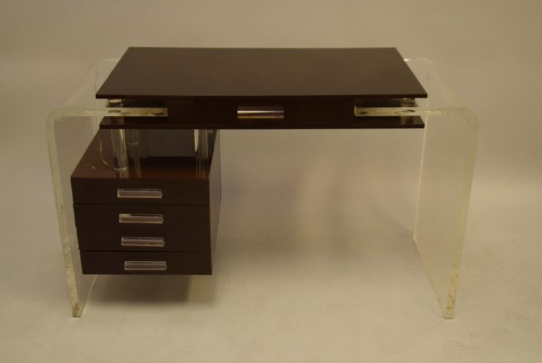 "Lucite and brown acrylic modern desk, 30""h x 47""w x"