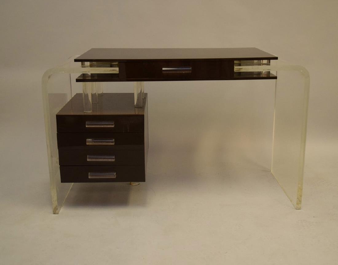 "Lucite and brown acrylic modern desk, 30""h x 47""w x - 2"