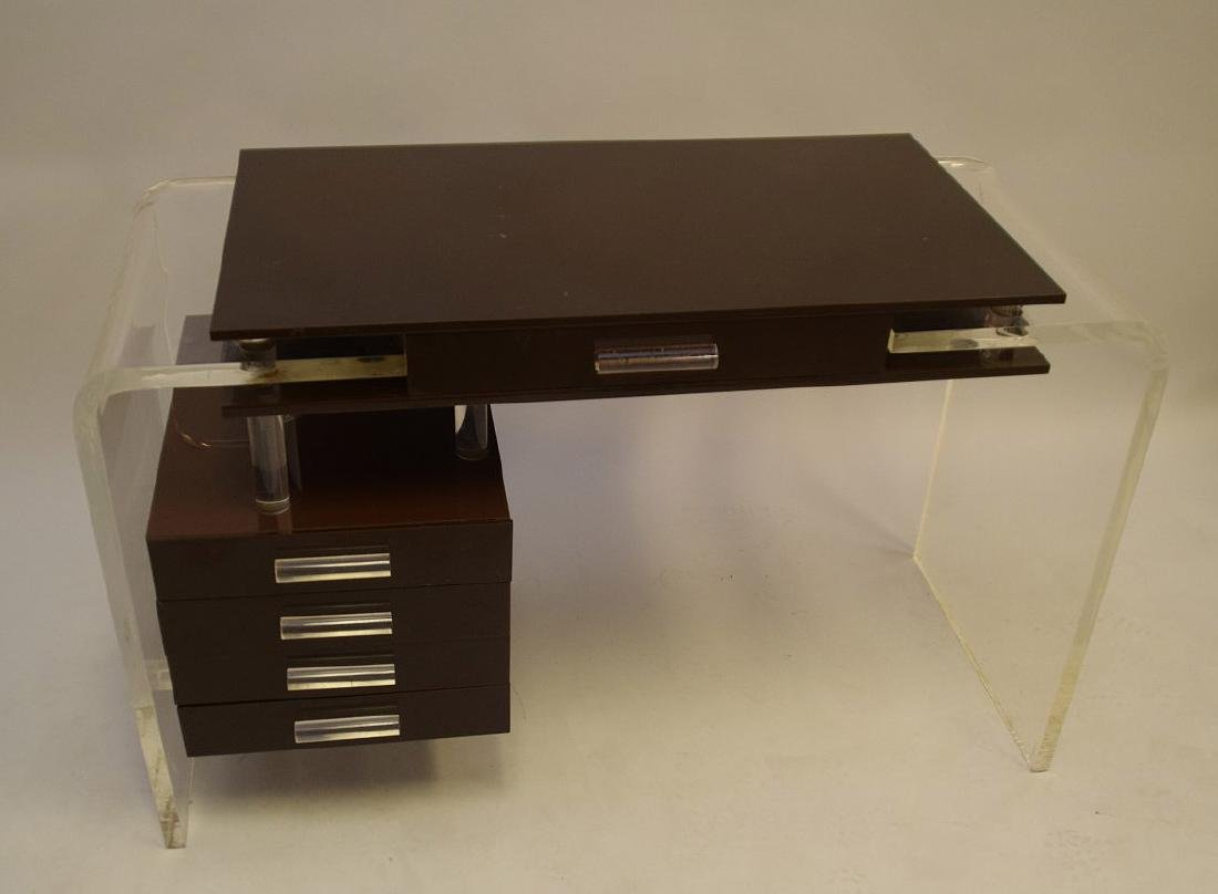 "Lucite and brown acrylic modern desk, 30""h x 47""w x - 3"