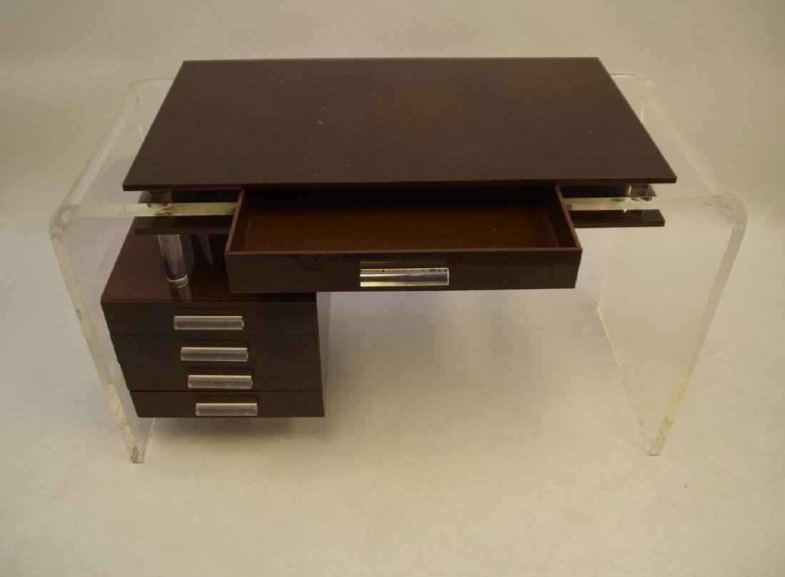"Lucite and brown acrylic modern desk, 30""h x 47""w x - 4"