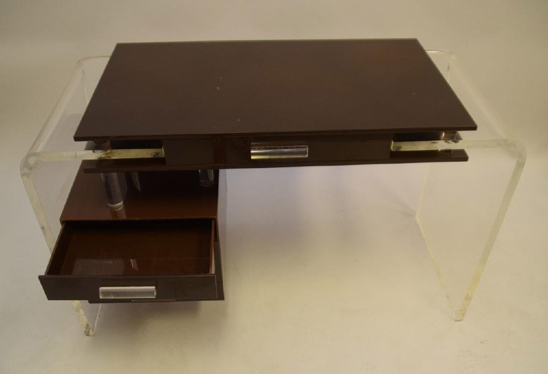 "Lucite and brown acrylic modern desk, 30""h x 47""w x - 5"
