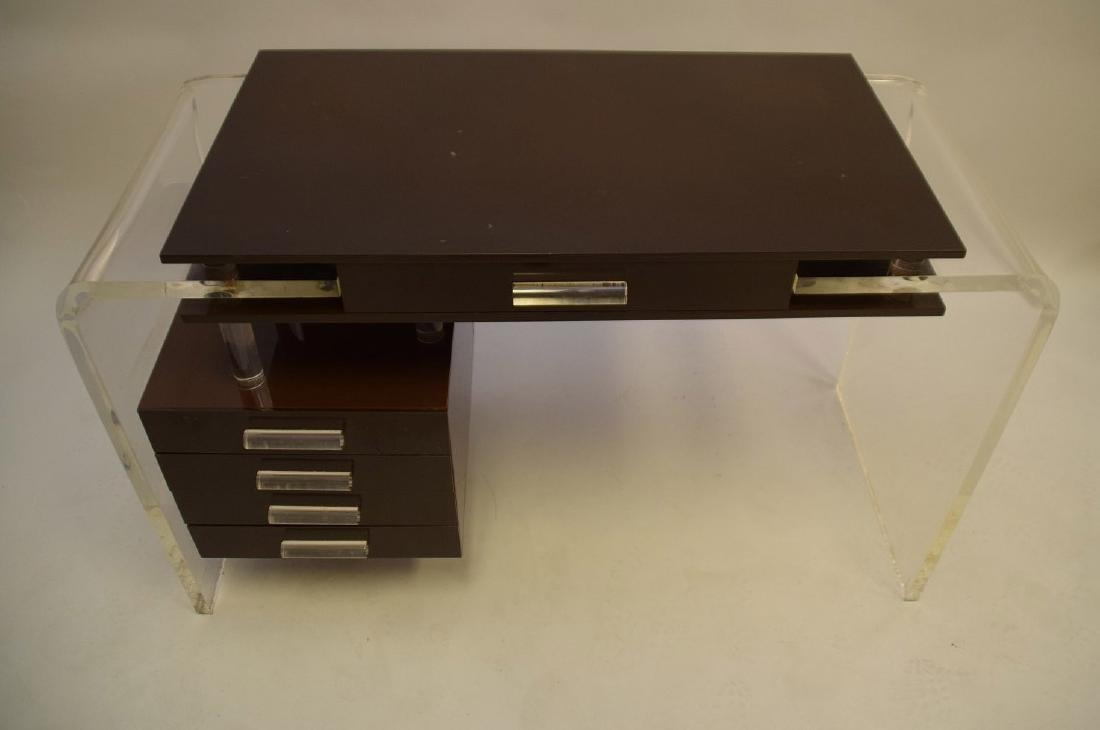 "Lucite and brown acrylic modern desk, 30""h x 47""w x - 6"