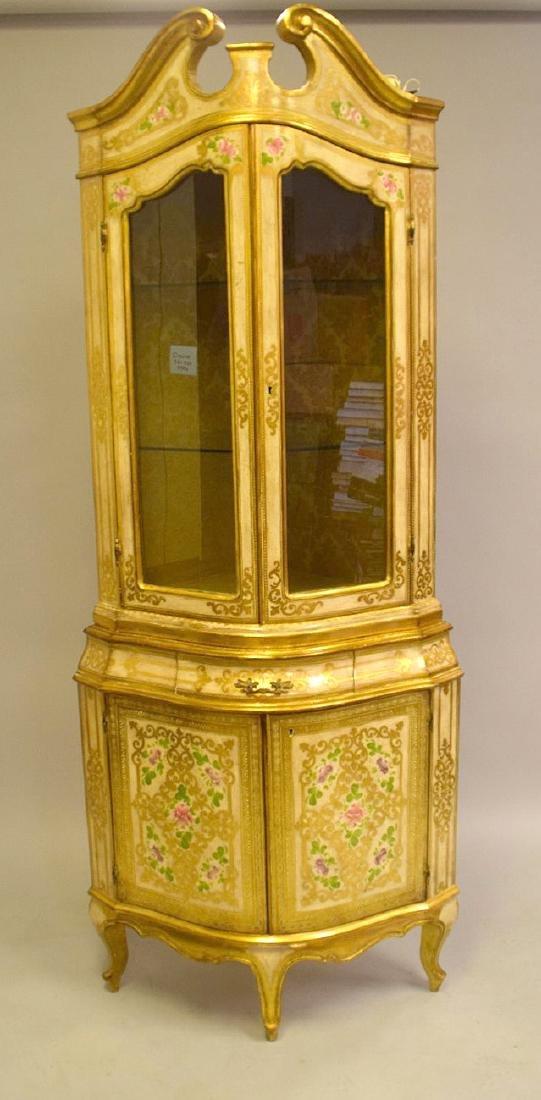 Venetian style corner cabinet, hand painted, glass