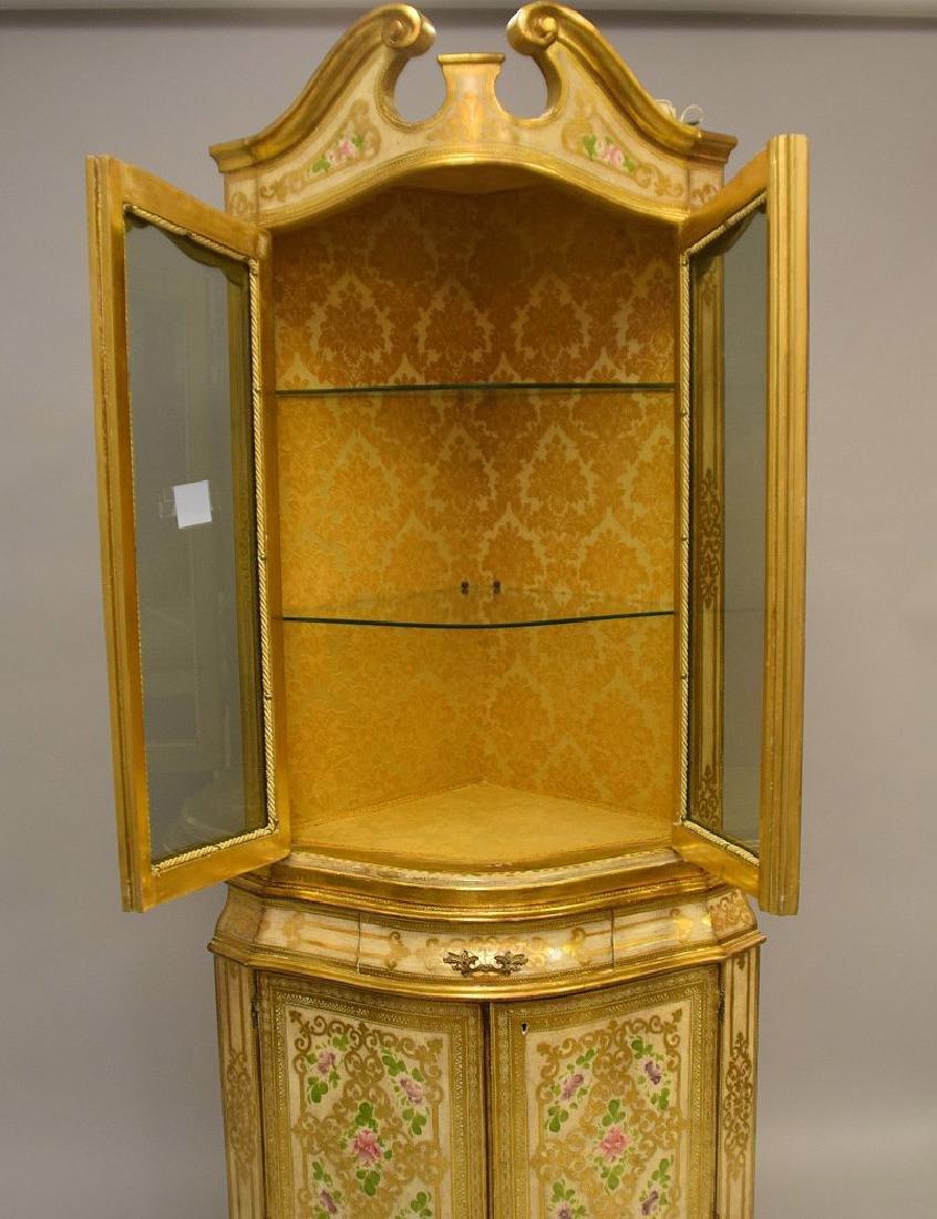 Venetian style corner cabinet, hand painted, glass - 2