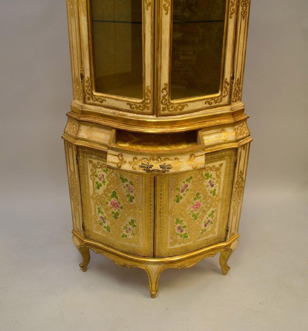 Venetian style corner cabinet, hand painted, glass - 3