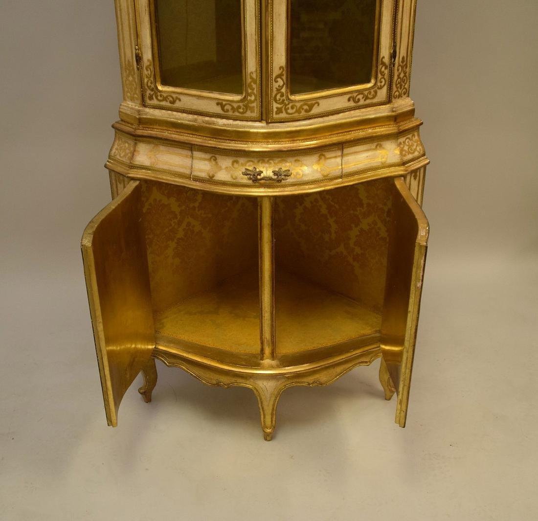 Venetian style corner cabinet, hand painted, glass - 4
