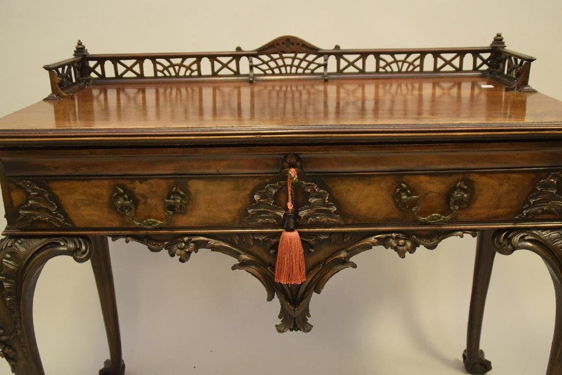 Mahogany console with fretwork gallery, single carved - 3