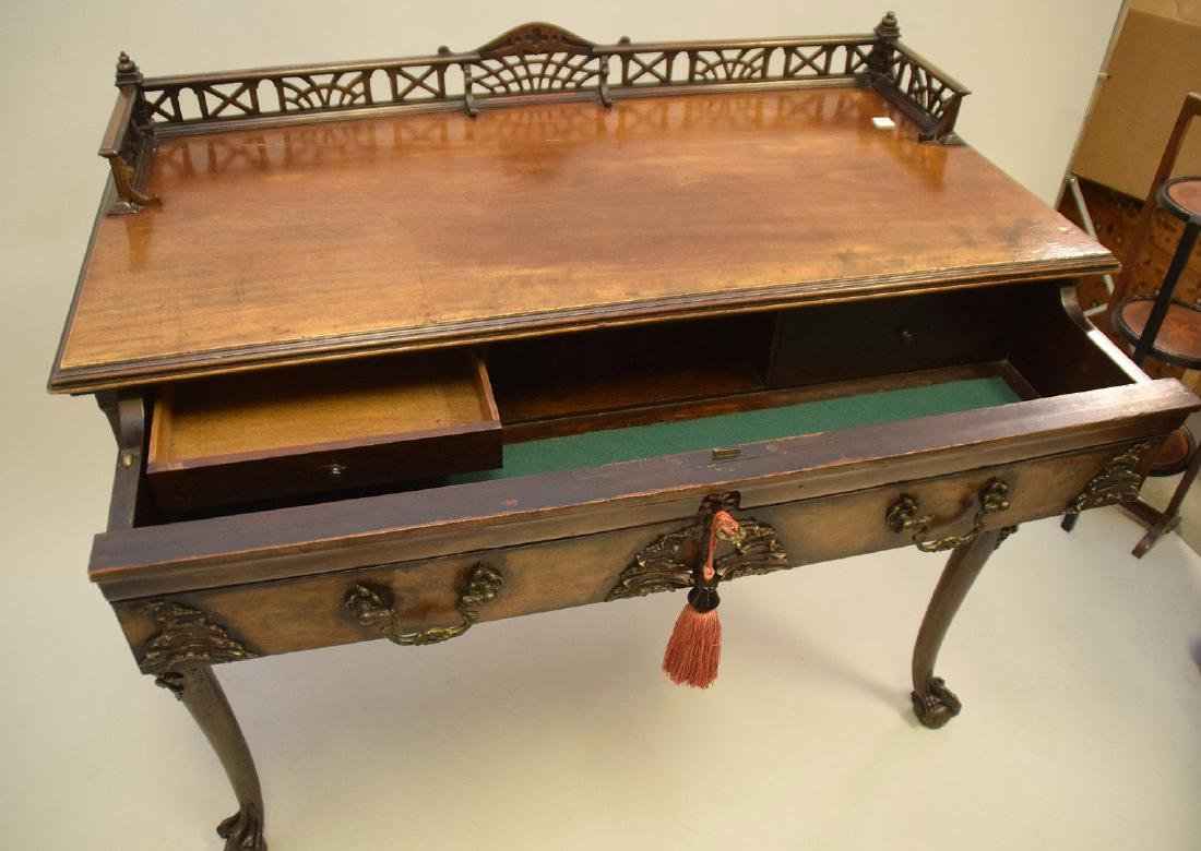 Mahogany console with fretwork gallery, single carved - 5