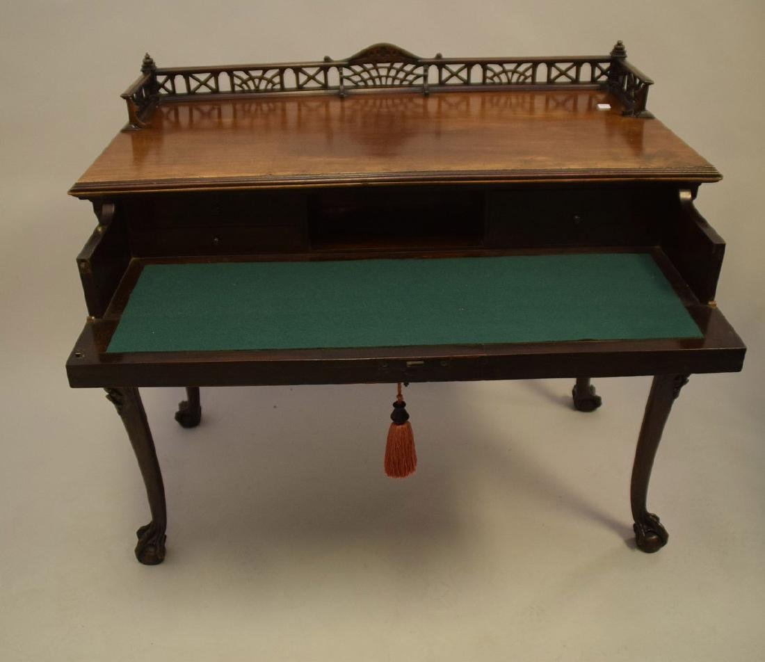 Mahogany console with fretwork gallery, single carved - 6