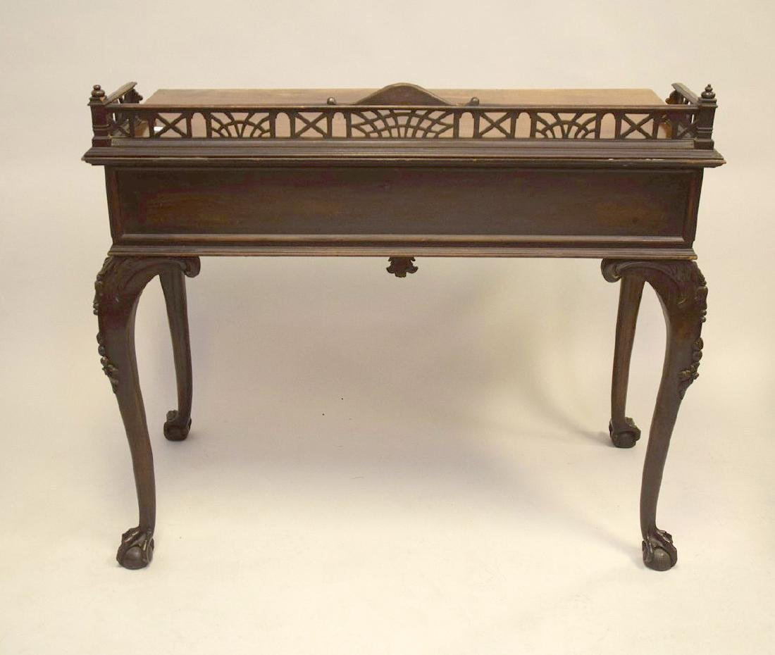 Mahogany console with fretwork gallery, single carved - 7