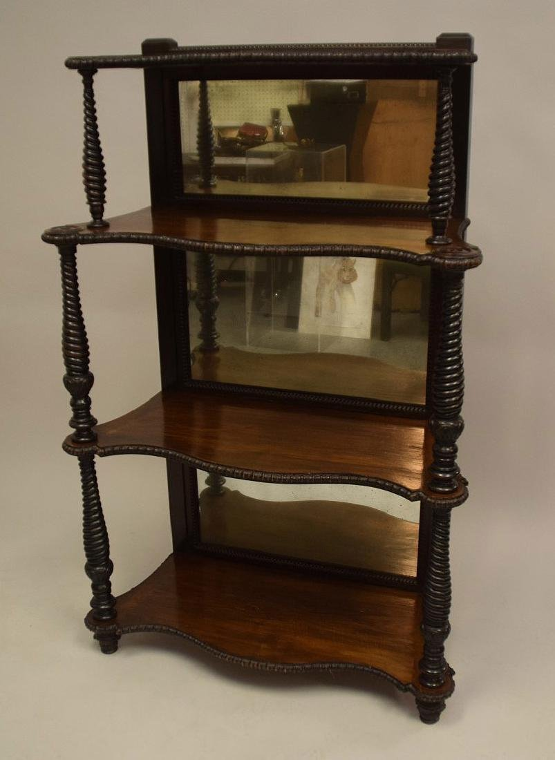 Mahogany mirrored 4 tier bookcase/display shelf with