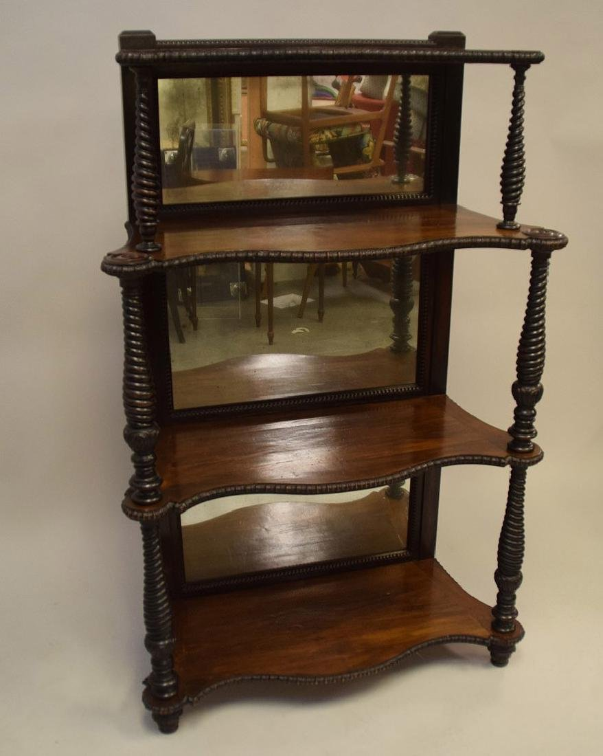 Mahogany mirrored 4 tier bookcase/display shelf with - 2