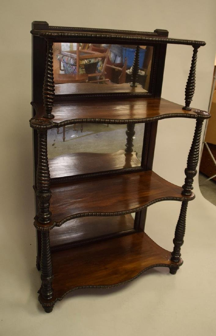 Mahogany mirrored 4 tier bookcase/display shelf with - 3