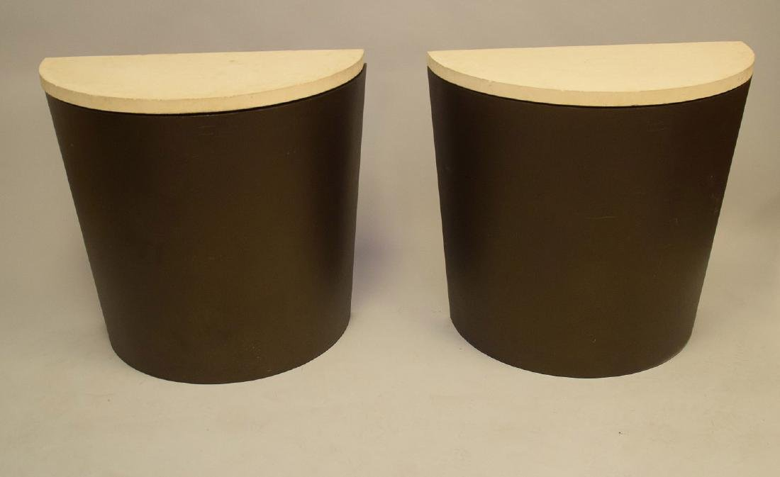 """Pair steel demi lune consoles with stone tops, 31""""h x"""