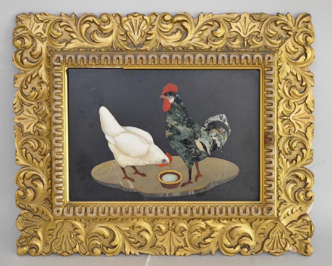 PIETRA DURA PLAQUE depicting two roosters.  Condition:
