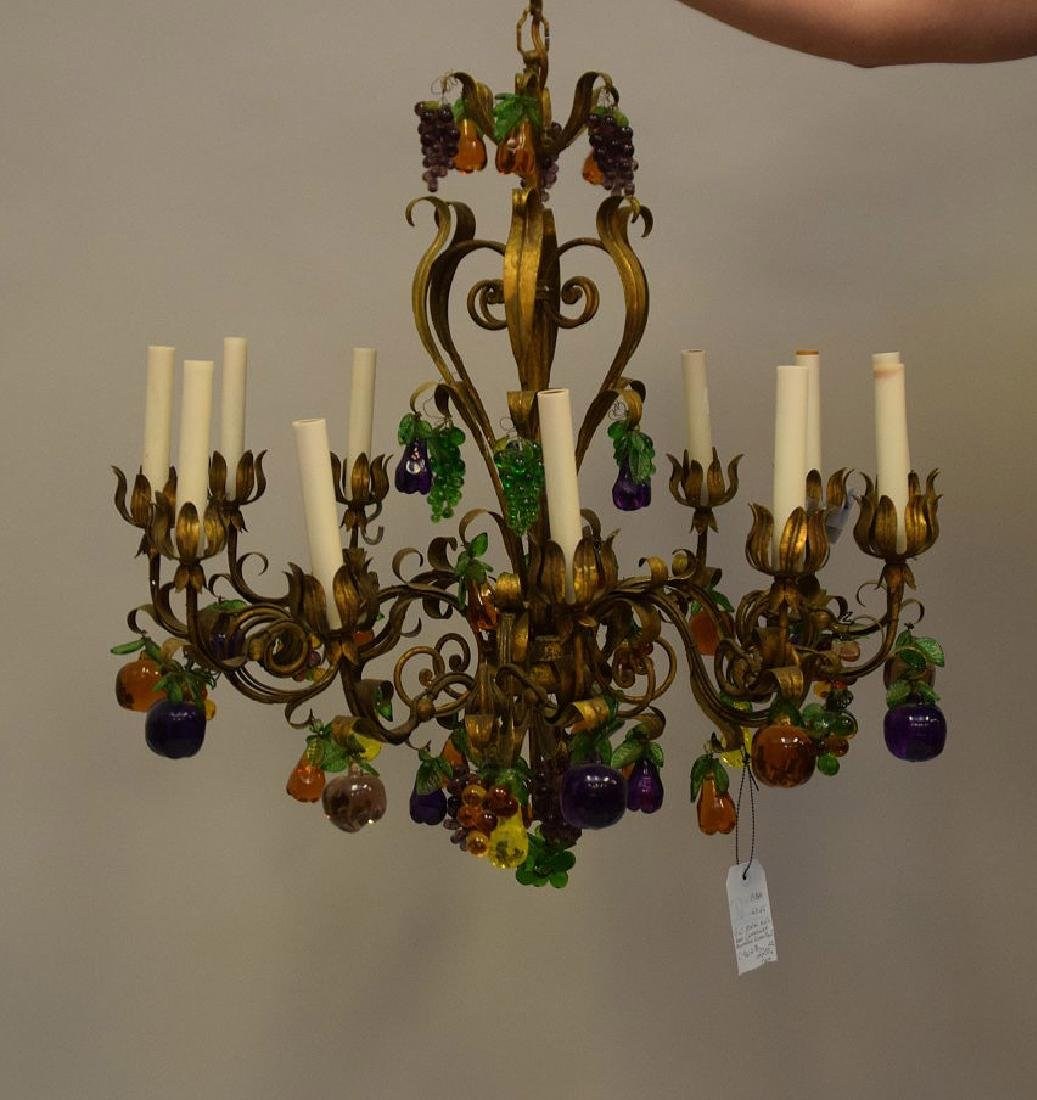 Vintage 12 lite gilt metal chandelier with colored - 2