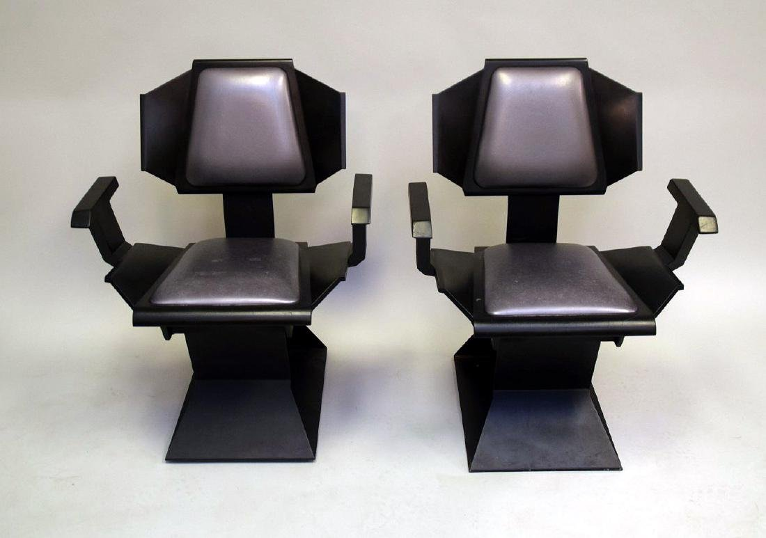 "Pair ""Star Trek"" chairs, black wood , silver seats and"